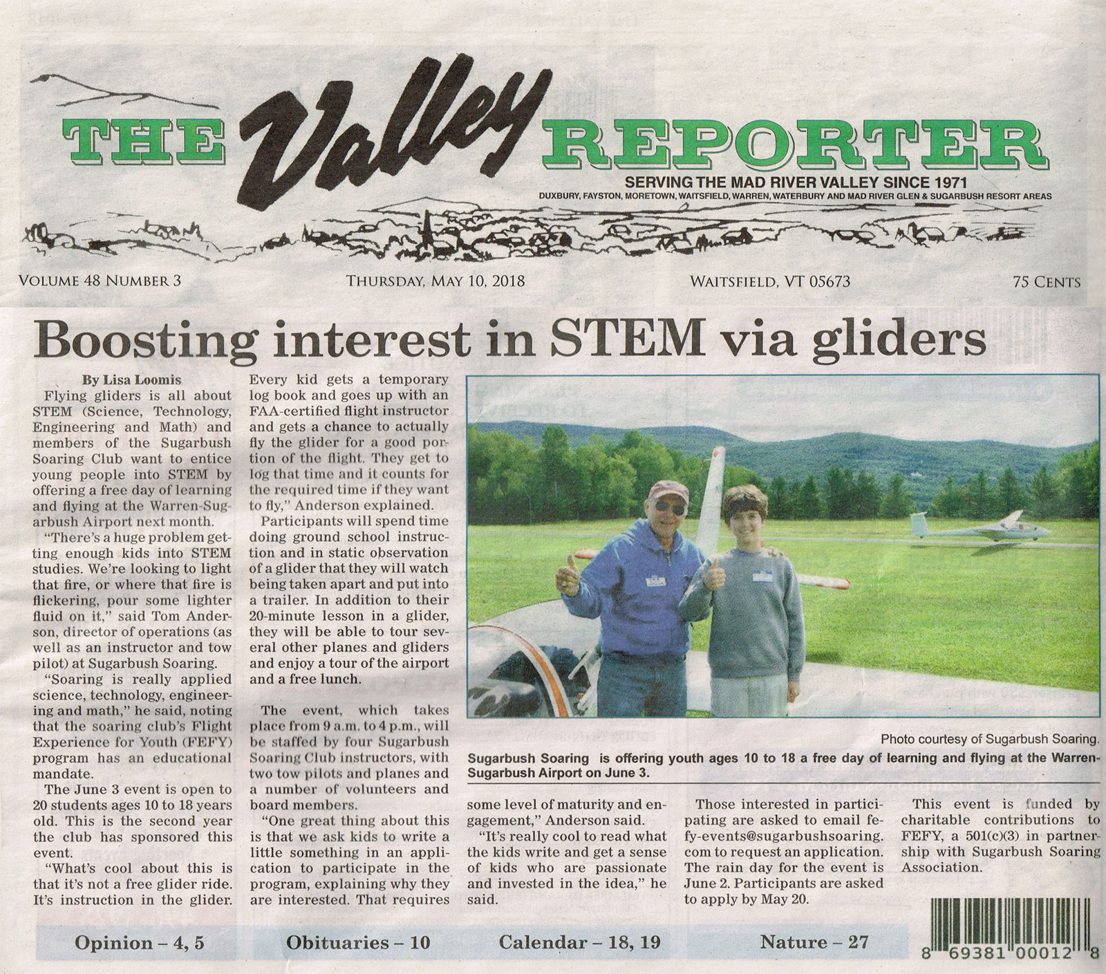 Valley Reporter STEM article